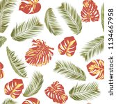 summer exotic floral tropical... | Shutterstock .eps vector #1134667958