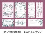 wedding card templates set with ... | Shutterstock .eps vector #1134667970
