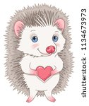 cute hedgehog in love and... | Shutterstock .eps vector #1134673973