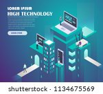 smart city technology. high... | Shutterstock .eps vector #1134675569