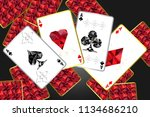 banner with four aces and a... | Shutterstock .eps vector #1134686210