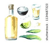 alcohol drink tequila set ... | Shutterstock . vector #1134687323