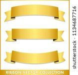 gold ribbon vector collection  | Shutterstock .eps vector #1134687716