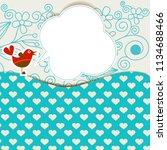 baby shower with cute bird... | Shutterstock .eps vector #1134688466
