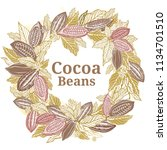 cacao beans plant  vector... | Shutterstock .eps vector #1134701510