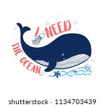 hand drawing whale illustration ... | Shutterstock .eps vector #1134703439