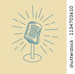 vintage old microphone icon... | Shutterstock .eps vector #1134703610