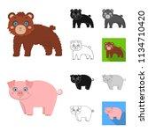 toy animals cartoon black flat...   Shutterstock .eps vector #1134710420