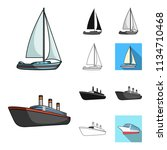 water and sea transport cartoon ... | Shutterstock .eps vector #1134710468