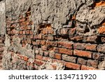 old wall made by red bricks | Shutterstock . vector #1134711920