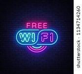 wifi neon sign vector. wifi... | Shutterstock .eps vector #1134714260