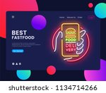 delivery food neon horizontal... | Shutterstock .eps vector #1134714266
