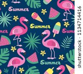 seamless pattern with flamingo  ... | Shutterstock .eps vector #1134714416