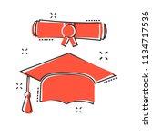 vector cartoon graduation cap... | Shutterstock .eps vector #1134717536