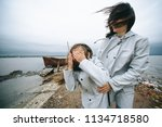 a young family have a fun near... | Shutterstock . vector #1134718580