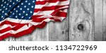 american flag and wooden boards | Shutterstock . vector #1134722969