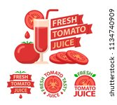 tomato juice and slices. badge... | Shutterstock .eps vector #1134740909