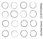 hand drawn ink line circles...   Shutterstock .eps vector #1134743846