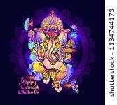 hindu god ganesha. line art... | Shutterstock .eps vector #1134744173