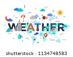 weather lettering surrounded by ... | Shutterstock .eps vector #1134748583