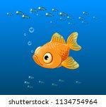 sad fish  yellow fish  goldfish ... | Shutterstock .eps vector #1134754964