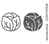 cabbage line and glyph icon ...   Shutterstock .eps vector #1134755528
