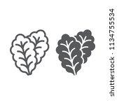 leaf lettuce line and glyph...   Shutterstock .eps vector #1134755534