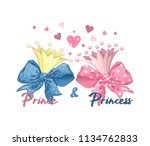 two crowns  golden and pink.... | Shutterstock .eps vector #1134762833