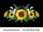 sunflowers bouquet with wild... | Shutterstock .eps vector #1134766766