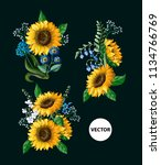 sunflowers bouquet with wild... | Shutterstock .eps vector #1134766769