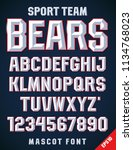 classic style sport team font ... | Shutterstock .eps vector #1134768023