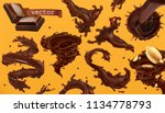 chocolate splash. 3d realistic... | Shutterstock .eps vector #1134778793