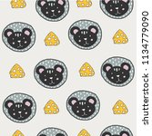 pattern with mouse face with... | Shutterstock .eps vector #1134779090