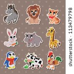 animal stickers | Shutterstock .eps vector #113479798