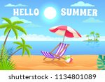 hello summer. vacation at the... | Shutterstock .eps vector #1134801089