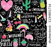 Doodle drawings and texts seamless endless repeating pattern texture / Vector illustration design for fashion fabrics, prints, wallpapers, wrapping papers, textile graphics and other creative uses.