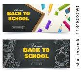 back to school promo banner... | Shutterstock .eps vector #1134803090