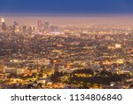 los angeles downtown sunset... | Shutterstock . vector #1134806840