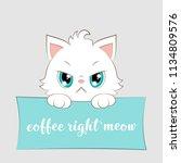 cute cartoon white kitten with... | Shutterstock . vector #1134809576