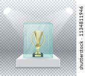 gold cup on a pedestal in a...   Shutterstock .eps vector #1134811946