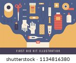 first aid kit object icons flat ... | Shutterstock .eps vector #1134816380