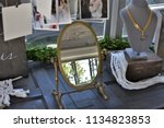 vintage gold mirror and jewelry ... | Shutterstock . vector #1134823853