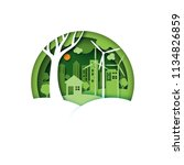 Green cco friendly urban city on nature landscape background.Ecology and environment conservation concept idea.Paper art style vector illustration.