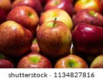 close up red apples in a market ... | Shutterstock . vector #1134827816