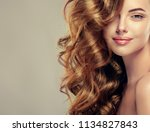 brunette  girl with long  and   ... | Shutterstock . vector #1134827843