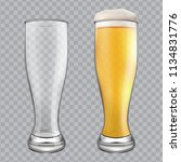 two beer glasses. one empty mug ... | Shutterstock .eps vector #1134831776