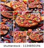 fresh fragrant pizza from the... | Shutterstock . vector #1134850196