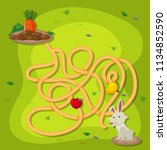 a rabbit puzzle maze game... | Shutterstock .eps vector #1134852590