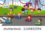 go kart racing at fun fair...   Shutterstock .eps vector #1134852596