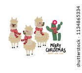 merry christmas greeting card... | Shutterstock .eps vector #1134865334